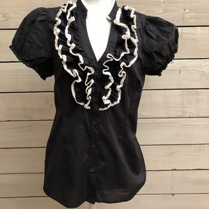 NWOT Anthropologie Odille Black Ruffle Blouse